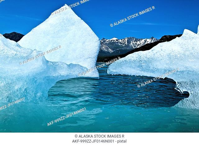 Close up of an iceberg from McBride Glacier in Muir Inlet, Glacier Bay National Park & Preserve, Southeast Alaska, Summer