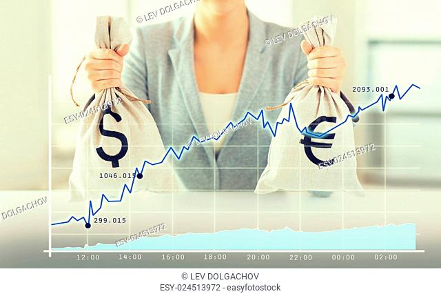 business, finance, saving, banking and people concept - close up of woman hands holding dollar and euro money bags with growing chart