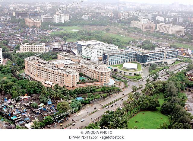 An aerial view of five stars hotels such as Grand Hyatt La Meridian Grand Maratha near the Chhatrapati Shivaji Maharaj International Airport sahar on the...
