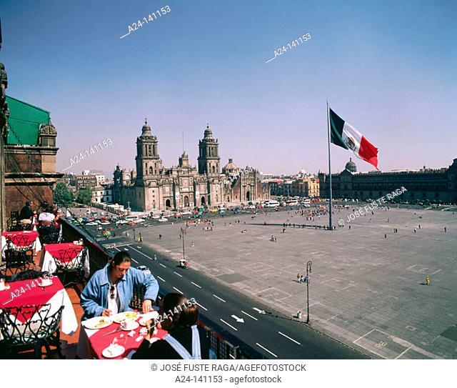 Plaza de la Constitución and  Metropolitan Cathedral. Mexico City. Mexico