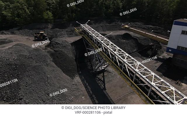 Aerial footage of a coal mining plant, Poland