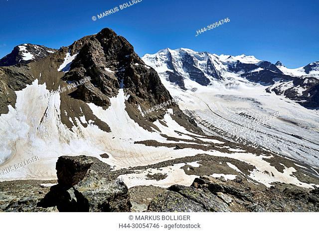 Diavolezza, the Engadine, Oberengadin, Graubünden, scenery, mountain landscape, Piz Palü, Piz Trovat, mountain world, glacier, Pers glacier, Pers, stone, snow