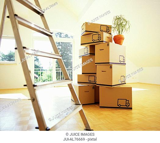View of unpacked boxes in an empty room with a ladder in foreground
