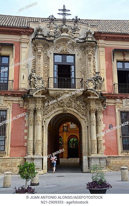 The Archbishop's Palace entrance on Plaza de la Virgen de los Reyes. Seville, Andalucia, Spain, Europe