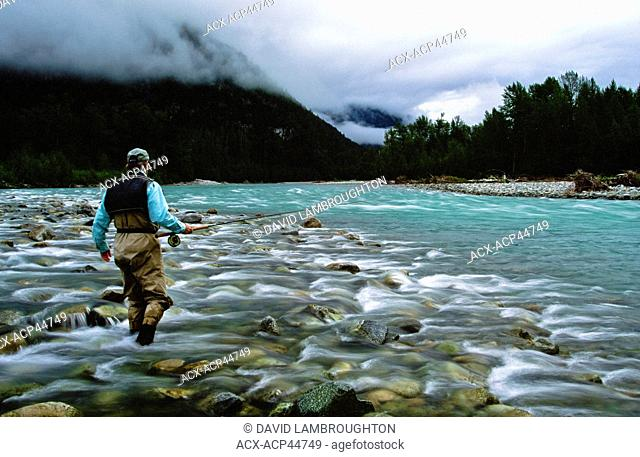 Man fly fishing, Dean River, British Columbia, Canada0