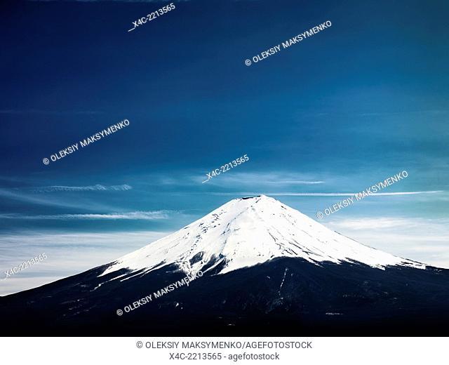 Mount Fuji under dramatic blue sky. Fujikawaguchiko, Yamanashi, Japan