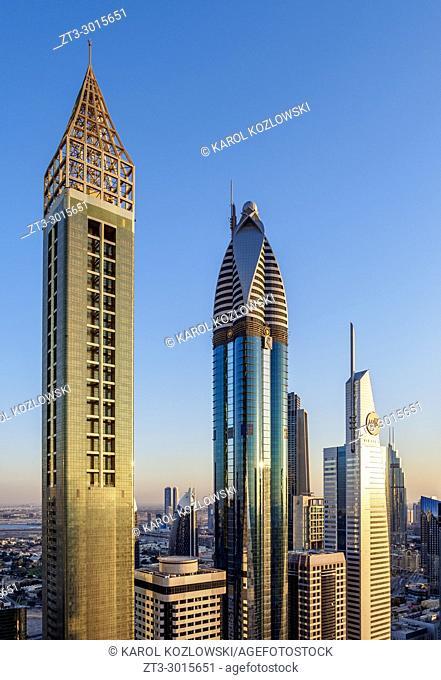 Dubai International Financial Centre at sunset, elevated view, Dubai, United Arab Emirates