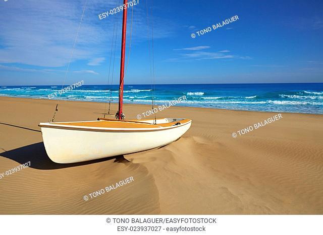 Cullera Dosel beach Mediterranean sea in Valencia of Spain