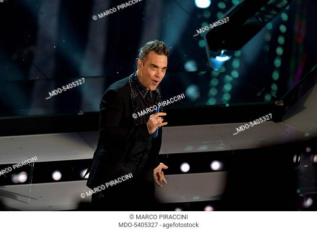 English singer Robbie Williams performs at 67th Sanremo Music Festival. Sanremo (Italy), february 8, 2017
