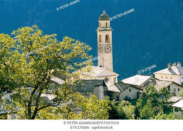 Village of Soglio in Graubünden. Switzerland