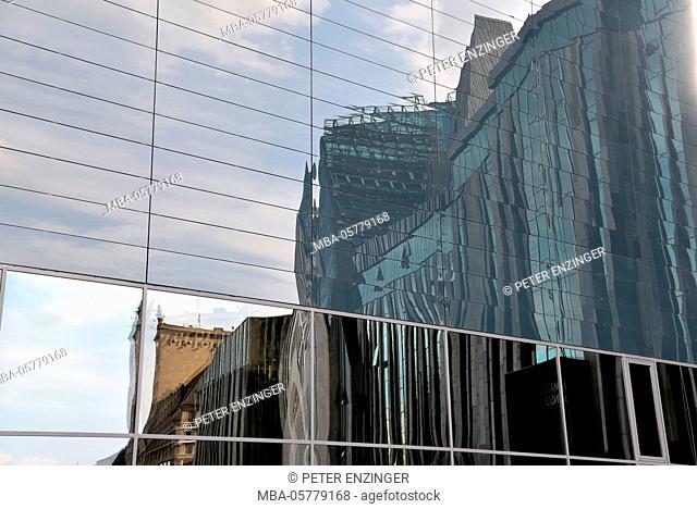 Germany, Saxony, Leipzig, window reflection, university of Leipzig