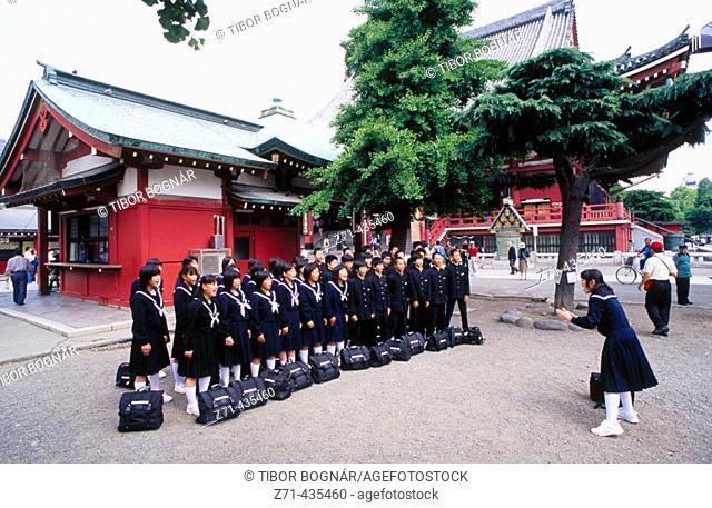 Children's choir singing in Sensou-Ji temple, Asakusa. Tokyo, Japan