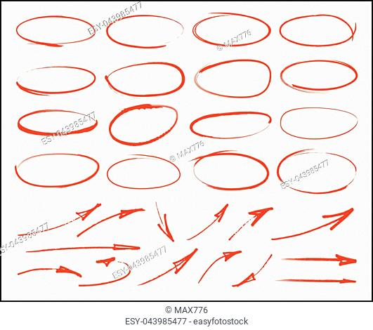Vector marker circles and arrows