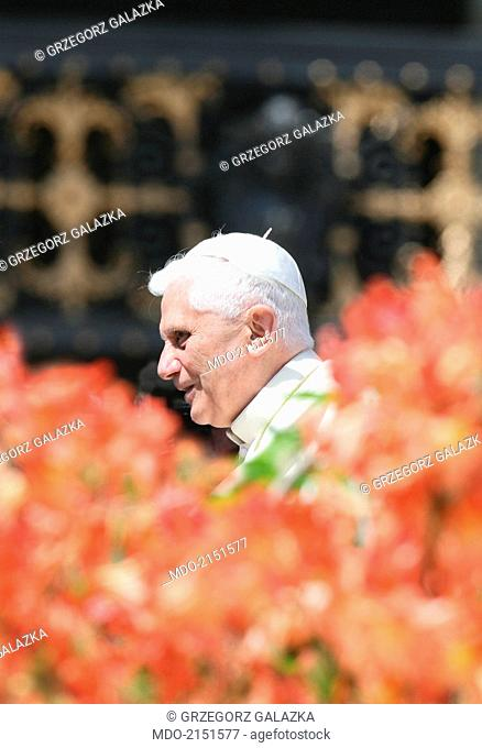 The pope Benedict XVI (Joseph Aloisius Ratzinger) during the Wednesday general audience on Saint Peter's Square. Vatican City. 2005