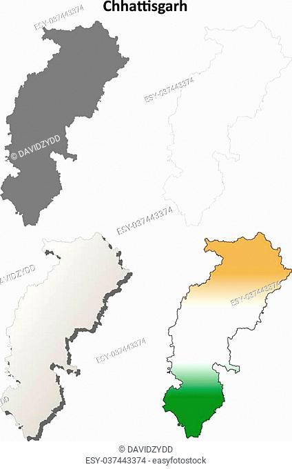 Chhattisgarh blank detailed vector outline map set