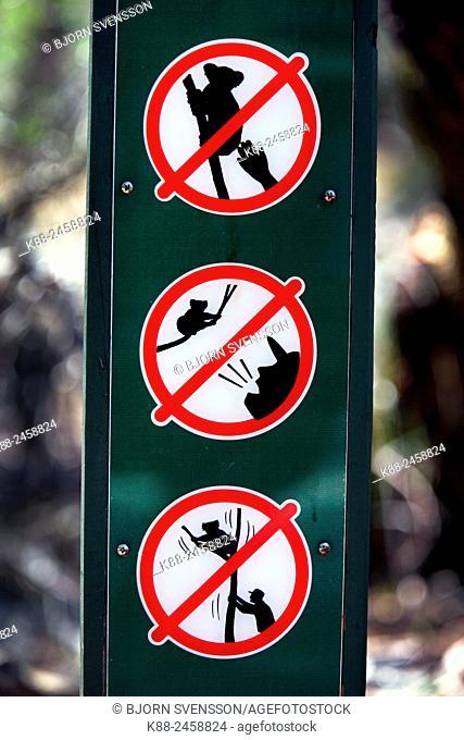 Sign at Koala Conservation Centre on Phillip Island. Victoria, Australia