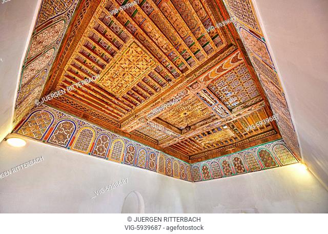 MOROCCO, OUARZAZATE, 19.05.2016, inside shot with decorated ceiling inside Kasbah Taourirt, Ouarzazate, Morocco, Africa - Ouarzazate, Morocco, 19/05/2016