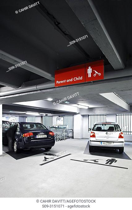 Parent and child parking in the interior of Q-Park Eyre Square car park, Galway, Co. Galway, Ireland