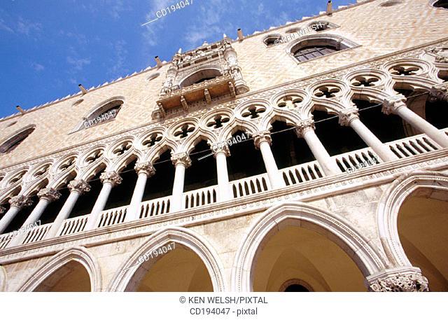 Doge's Palace facade. Venice. Italy