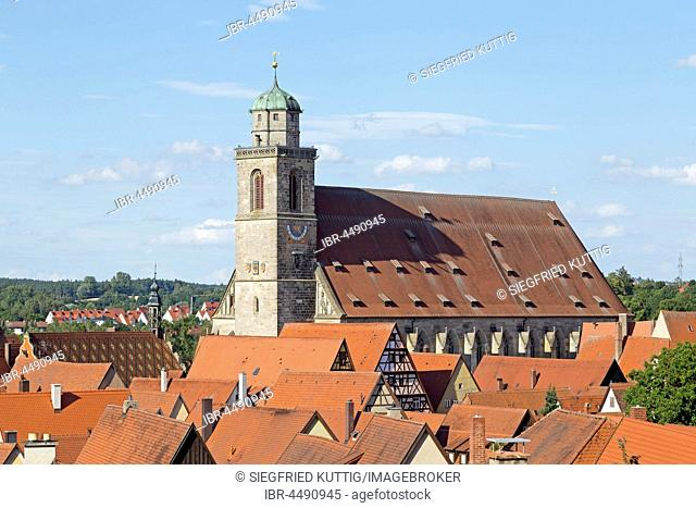 View over rooftops of St. George Church, Dinkelsbühl, Middle Franconia, Bavaria, Germany
