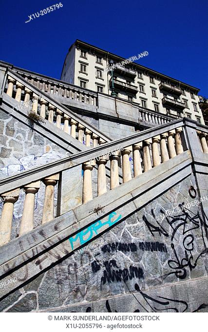 Graffiti and Steps down to the Murazzi del Po Turin Piedmont Italy