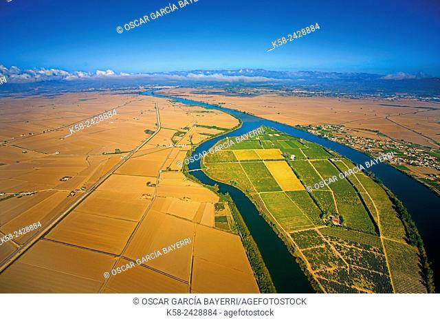 Aerial view of the Isla de Gràcia in the Ebro Delta. Catalonia, Spain