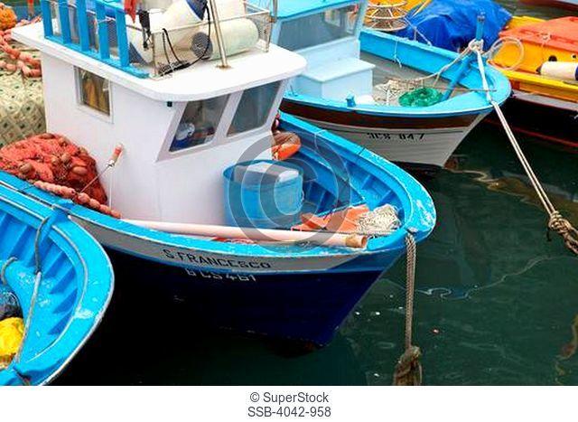 Small fishing boats at harbor, Marina Grande, Sorrento, Campania, Italy