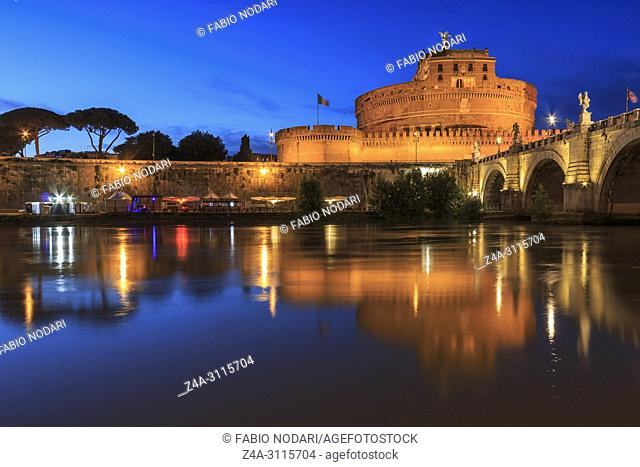 Castel Santangelo in Rome reflected on the Tiber River at sunset