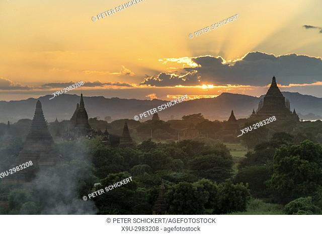 sunset at the temples and pagodas of Bagan, Myanmar, Asia