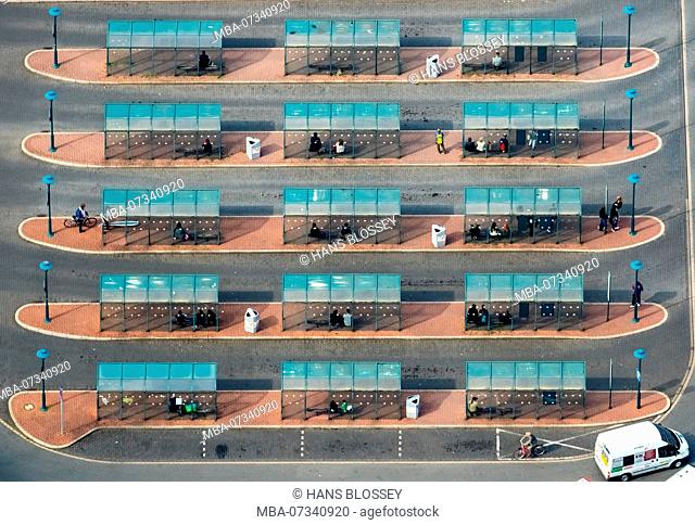 Aerial view, bus station Wesel, Franz-Etzel-Platz, central bus station, bus shelter, bus stop, Wesel, Lower Rhine, North Rhine-Westphalia, Germany