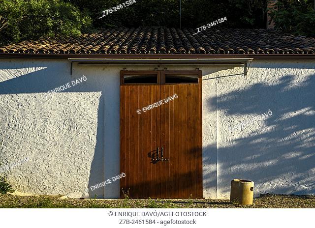 View of a wood door in Sentiu of Sio town, Lerida province, Spain