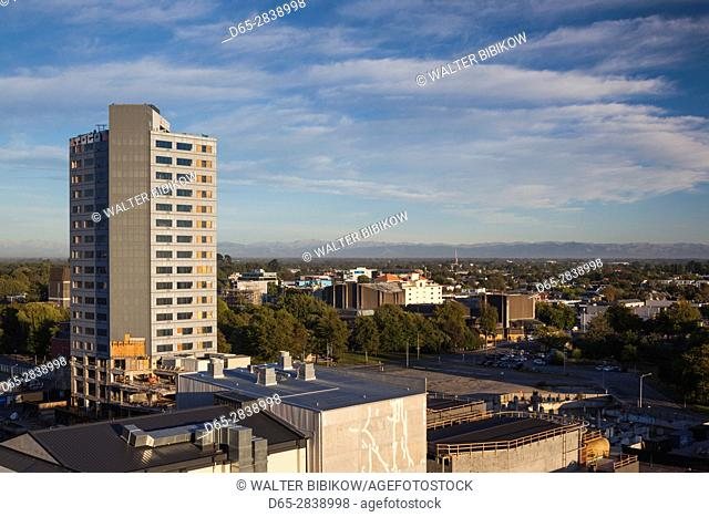 New Zealand, South Island, Christchurch, elevated view of office tower damaged in the 2011 earthquake, dawn