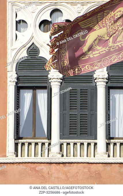 Venice, Veneto, Italy: Lion flag at Danieli luxury hotel