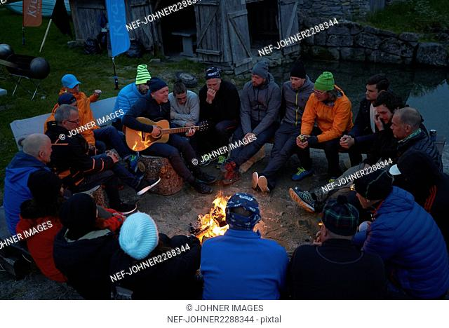 People at campfire