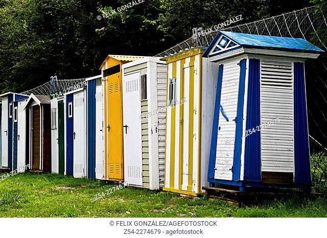 Beach huts, Luarca Asturias, Spain