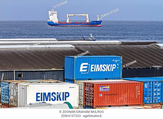 Containers and Container Ship Torshavn Faroe Islan