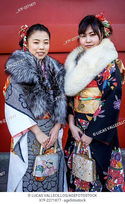 Women in furisode kimono, Seijin no hi day, celebration of the coming of age, second Monday of January, in Asakusa Senso-ji Temple, Tokyo, Japan