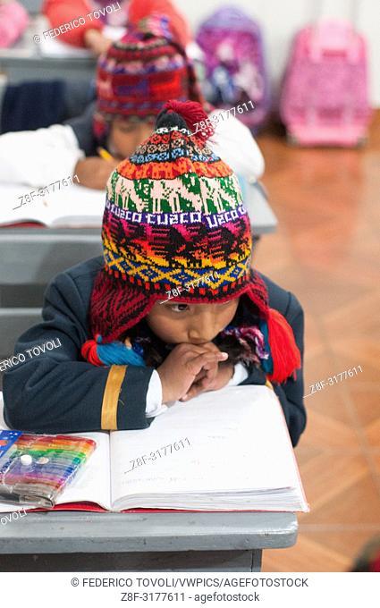 """""""""""""""""""""""chullo"""""""" Festival (typical Andean hat) in the private school Razuri. Peru"""