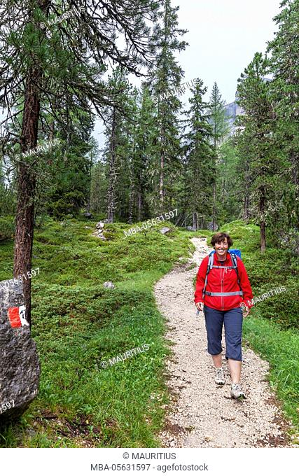 Hike at the foot of the Heiligkreuzkofel, St. Leonhard near Abtei, South Tyrol, Italy, Europe