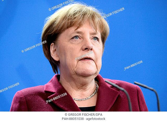 German Chancellor Angela Merkel speaks during a joint press conference with French Prime Minister Bernard Cazeneuve in Berlin, Germany, 13 February 2017