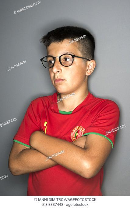 11 years old Portuguese boy in spectacles