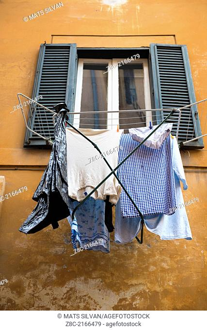 Drying the clothes outside the window In Rome, Italy