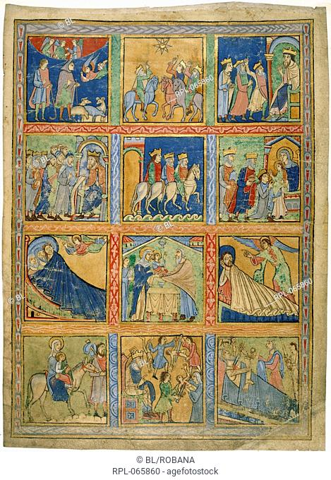 Scenes from the Life of Christ, Whole leaf Scenes from the Life of ChriSt Annunciation to the shepherds, the Magi follow the star, the Magi before Herod