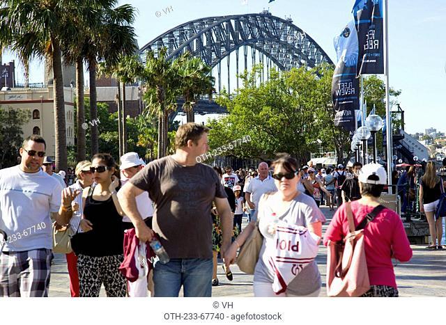 Tourists at the Harbour Bridge, Sydney, Australia