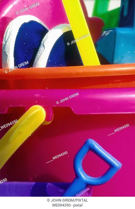 Sand bucket and beach toys