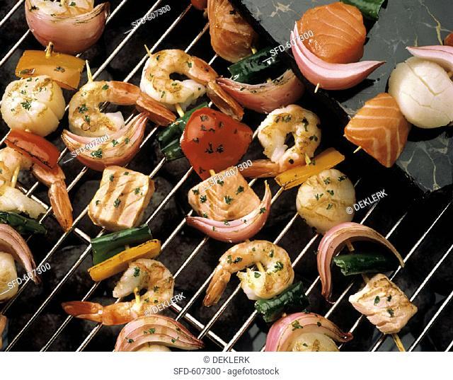 Seafood and Vegetable Kabobs on the Grill