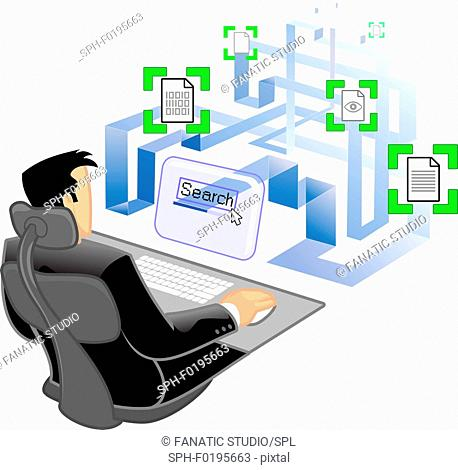 Man using a computer to do online search, illustration