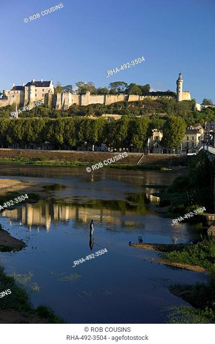 Chateau and River Vienne, Chinon, Indre-et-Loire, Touraine, France, Europe
