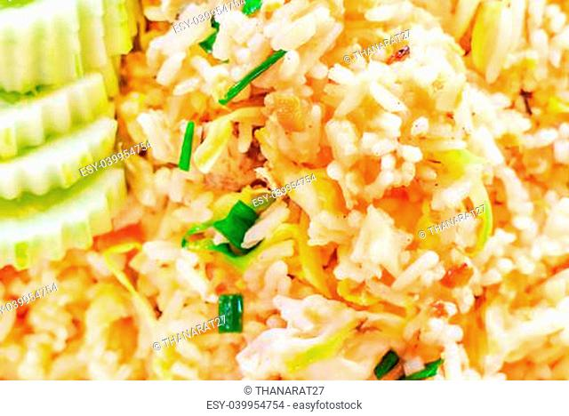 Hot Fried Rice with Vegetables and Crab