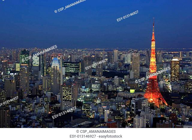 Evening View of Roppongi area and Tokyo Tower